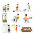 housewives at work washing cleaning cooking vector image