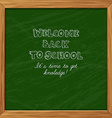 Green blackboard greeting card welcome back to vector image