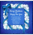 Christmas card with frame of white and blue balls vector image