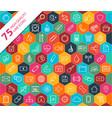 75 high quality line icons vector image
