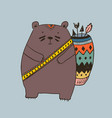 boho with bear vector image