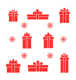 set of red gift boxes and snowflake vector image