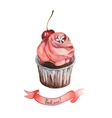 Watercolor decorative cupcake with ribbon vector image