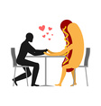 Lover in coffee room Man and hot dog is sitting at vector image