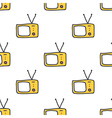 Retro TV doodle seamless pattern background vector image