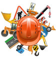 road construction concept with helmet vector image vector image