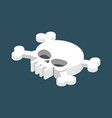 skull and crossbones isolated pirate danger sign vector image