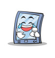 Joy face tablet character cartoon style vector image