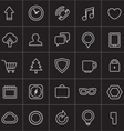 Modern web icons collection on black vector image vector image