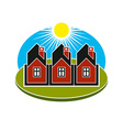 Bright of simple country houses on sunrise b vector image