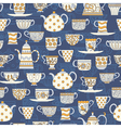 Seamless background with teacups and teapots vector image