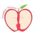 Romantic female and male faces in form of apple vector image vector image