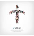 Sponsor people sign 3d vector image