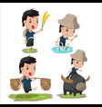 asian farmer cartoon character set vector image