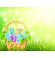 Basket with easter eggs on bokeh light effect vector image