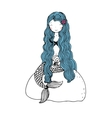 Beautiful little mermaid with shells Siren vector image