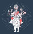 icon of goddess durga a lion vector image