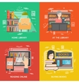Library concept set vector image