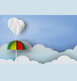 paper art of white balloon and colorful umbrella vector image