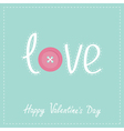 Word love applique with dash line thread button vector image