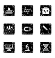 Scientific research icons set grunge style vector image