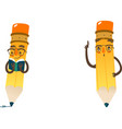 cartoon humanized pencil in cap and glasses vector image
