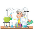 old scientist works in lab vector image vector image