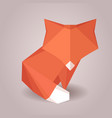 a paper origami fox paper zoo vector image