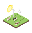 Isometric 3d of windmill and cows vector image