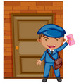 postman delivering letter at the door vector image