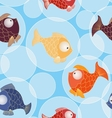Seamless pattern with little gold and color fishes vector image