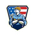 American Builder Carpenter Hammer Crest Retro vector image vector image