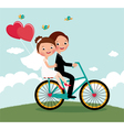 Newlyweds bike vector image vector image