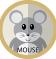 Cute grey mouse cartoon flat icon avatar round vector image