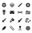 Black Different kind of car parts icons vector image