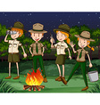 Park rangers working at night vector image vector image
