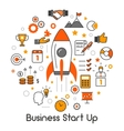 Business Start Up Line Art Thin Icons Set vector image