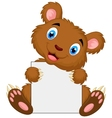 Cute brown bear cartoon holding blank sign vector image