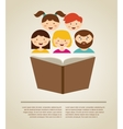 family reading a book with place for vector image