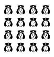 nurse face emoticon icons set vector image
