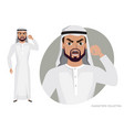 the evil arab man character threatens with his vector image