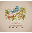 Spring Bird -Vintage Card - hand-drawn vector image