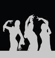 flamenco dance girl silhouette on black vector image vector image