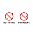 No smoking forbidden signs with realistic vector image