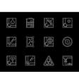 Billiards tournament white flat line icons vector image