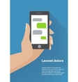 Hand holding black smartphone with blank speech vector image