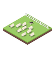 Isometric 3d of farm animals vector image