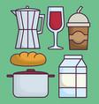 italian coffee maker and food vector image