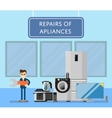 Repairs of appliances banner with electro technics vector image