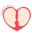 Romantic female and male faces in form of heart vector image vector image